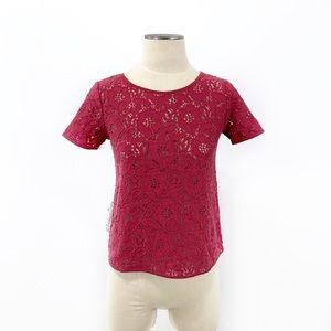 Ann Taylor LOFT Factory- Magenta Floral Lace Top